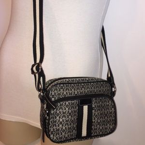FOSSIL Black/Gray Canvas Messenger Bag